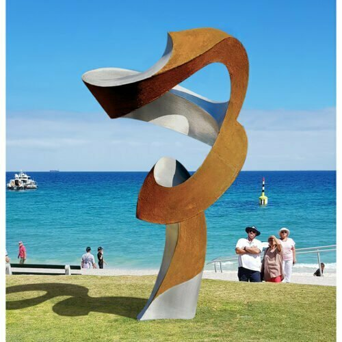Symphony-no.26-ed2of4--2.8m--CORTEN-STAINLESS[landmark]-james-pannekoek-australian-large-scale-abstract-curved-sculpture