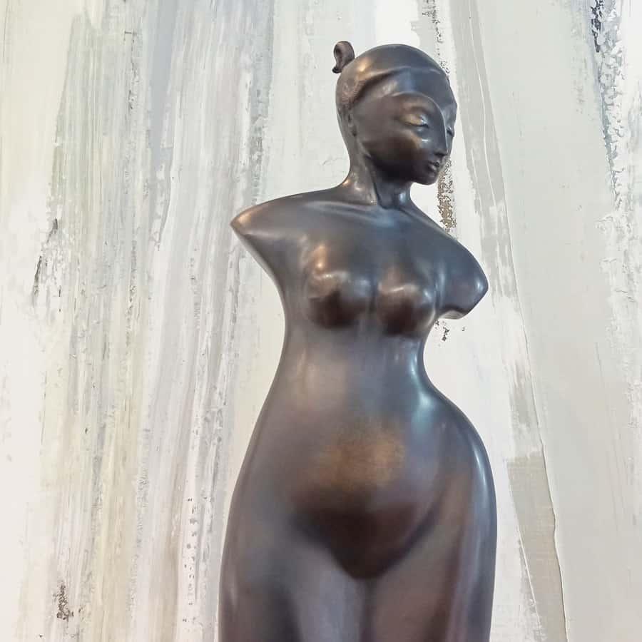 BRONZE-MARBLE-BASE-[Bronze,Table-top,Figurative]-Libucha-Zygmunt-australian-sculpture-female-form