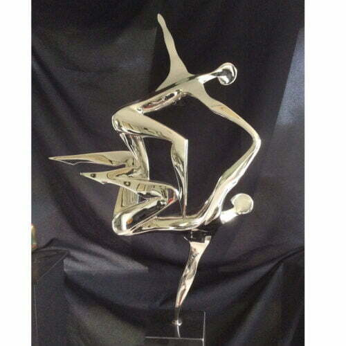 The-Song-Cast-stainless-steel-GRANITE-base-100x63cm--BRONZE-[tabletop,-bronze,-figurative]-smagarinsky-female-dance-sculpture-australian-artist