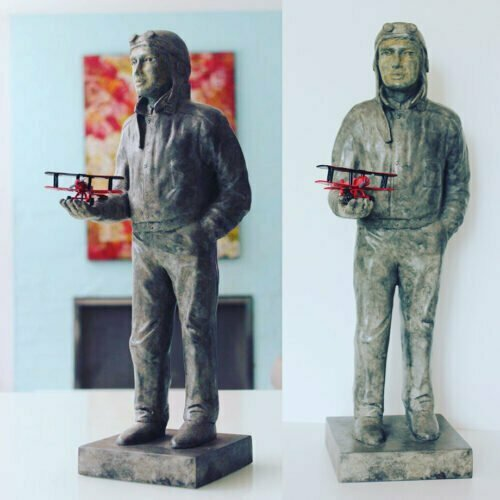The-aviator-and-his-flying-machine---BRONZE-WITH-PATINA-[Table-top,Bronze,-Figurative]-mela-cooke-aviator-pilot-sculpture