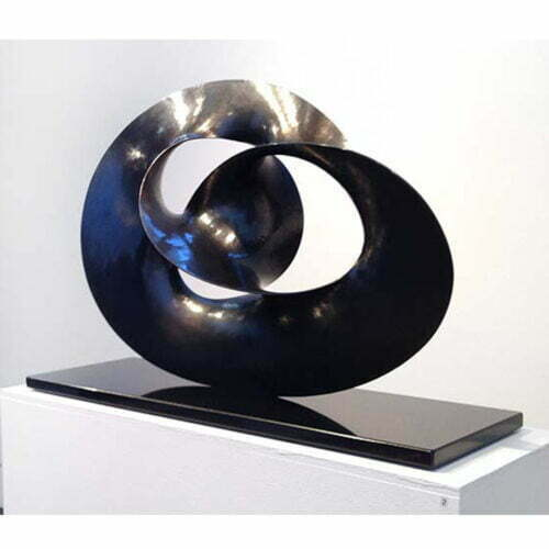 Threefold-49x73cm-BLACK-PATINA--HAND-FORGED-COPPER-[Tabletop]Ben-Storch-sculpture-australian-abstract-twisted-form-black-art