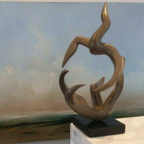Topsy-Turvy-AP-limited-10-38cm---BRONZE-[tabletop,bronze,figurative]michael-vaynman-sculpture-australian-female-figure-bronze-art