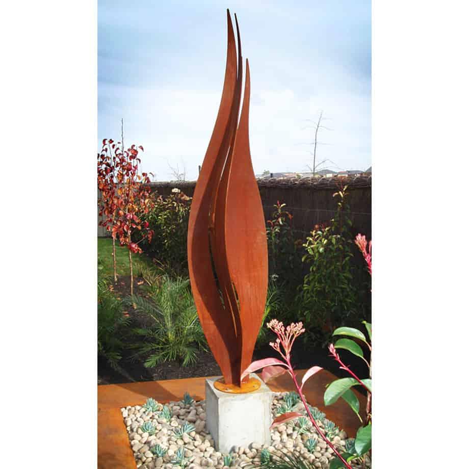 Twin-Flames-240x40cm---CORTEN-[Corten,-outdoor,]Pierre-Le-Roux-australian--sculpture-outdoor-drive-way-entry-art-garden-fire