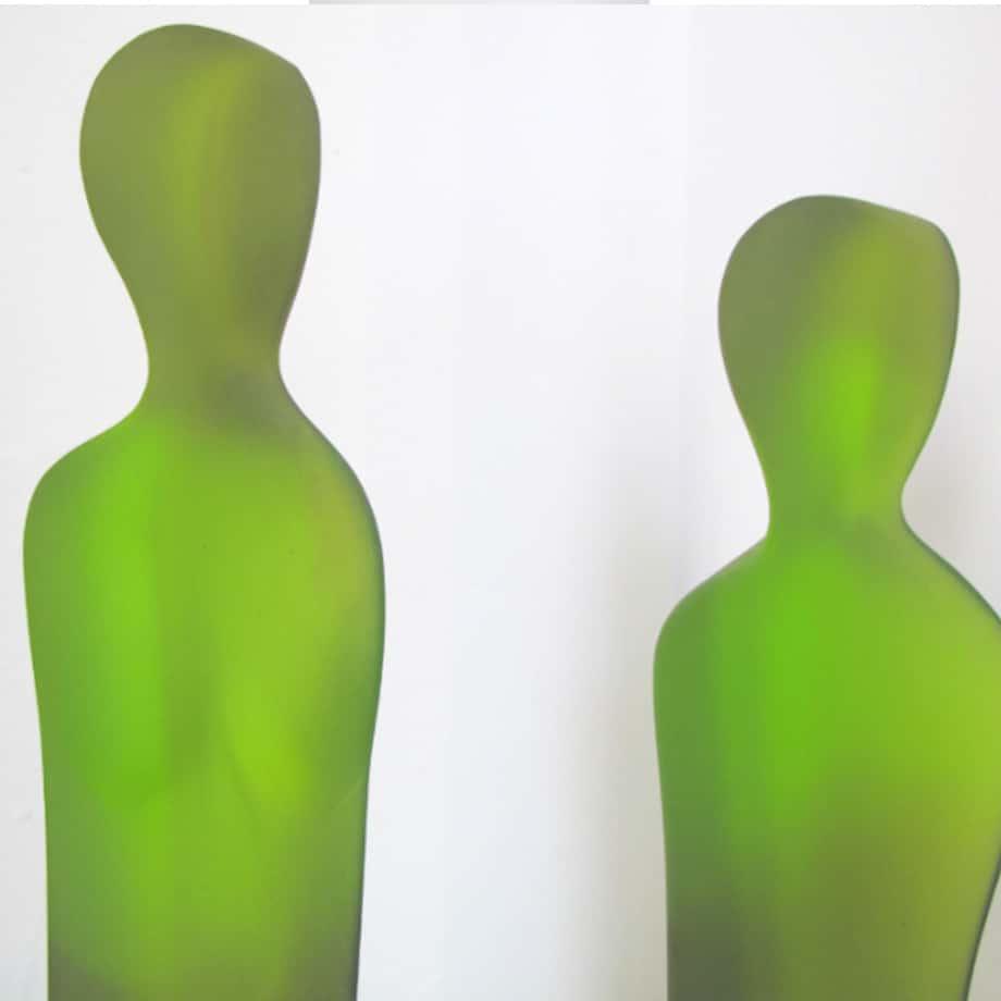 Two-Part-Intervention--CAST-GLASS-[free-standing,tabletop,Glass,figurative]-Sallie-Portnoy-australian-sculpture-glass-figures