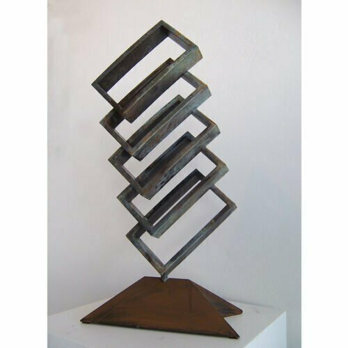 Unfolding-76x35cm-Bronze[free-standing,-table-top,-bronze]-Laurindo-de-abreu-soto-australian-sculpture-cubist-abstract-bold