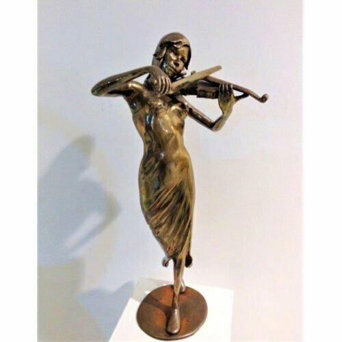 Violinist-56x25x10cm-[Unique]-BRONZE-[Table-top,Bronze,Figurative]-Matt-Carney-Australian-female-Sculpture