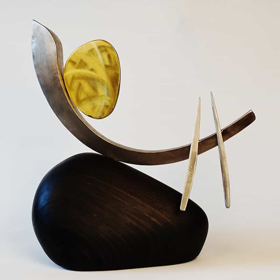 Voyager51cm-STAINLESS-Veneer-BRASS[table-top]Donal-Molloy-Drum-australian-abstract-interior-sculpture-japanese-modern-contemporary-sculpture