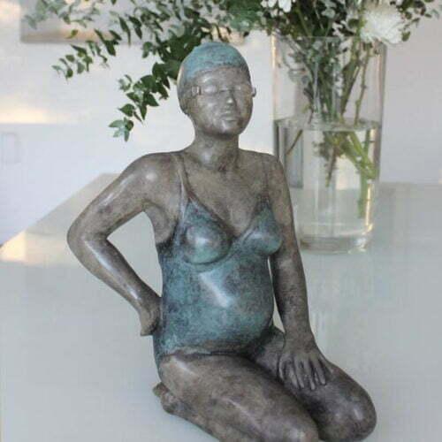 Waiting-for-the-Bean-34x30cm---BRONZE-WITH-PATINA-[Table-top,Bronze,-Figurative]-mela-cooke-australian-female-sculpture