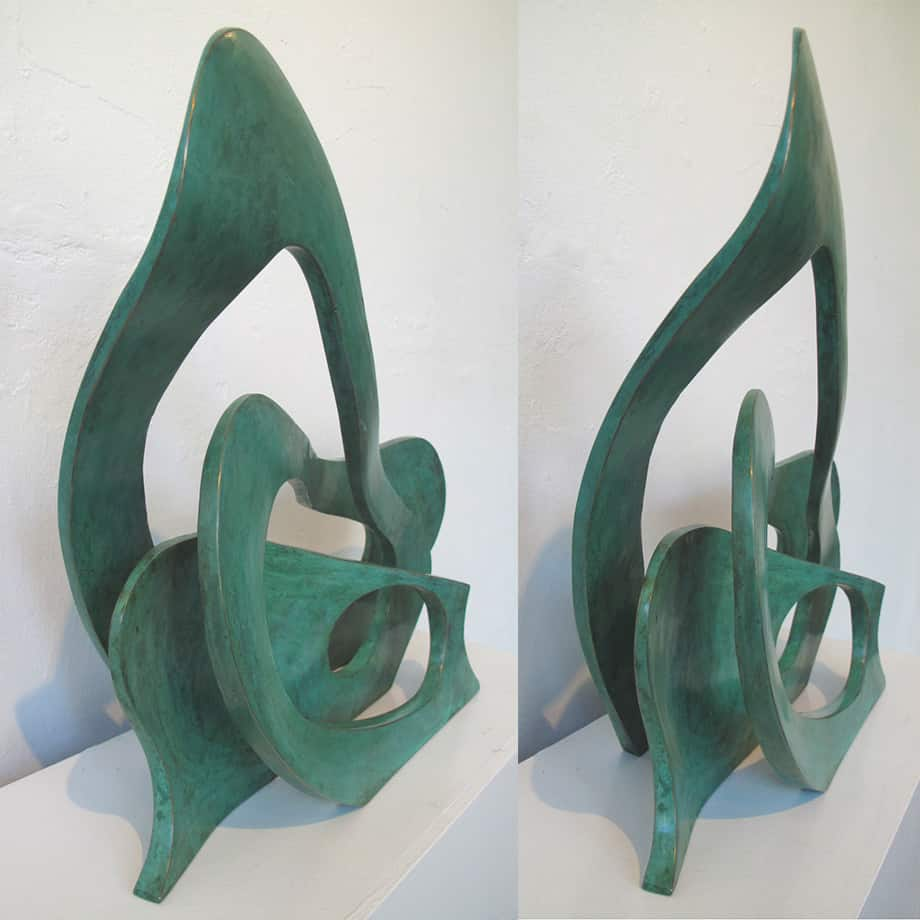 legend of the wave Wave--62x44cm-BRONZE-with--TEAL-PATINAL[Table-top,-bronze]blazeski--australian-abstract-sculpture