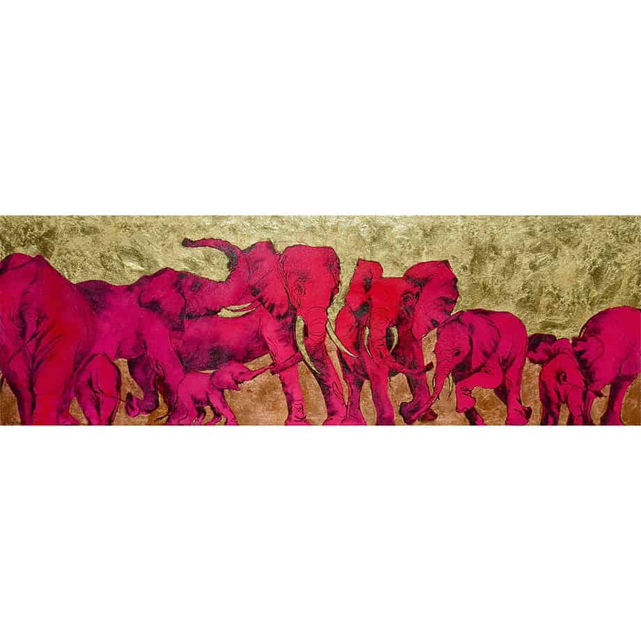 wildlife elephant scene painting