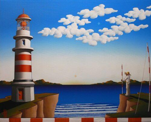 australian painting lighthouse ocean