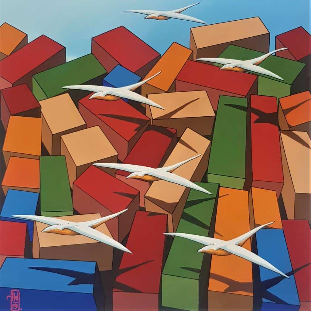 australian painting realist blocks
