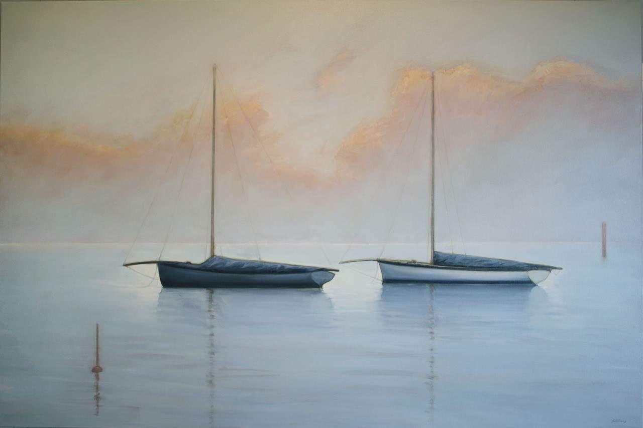 australian painting water boat sky