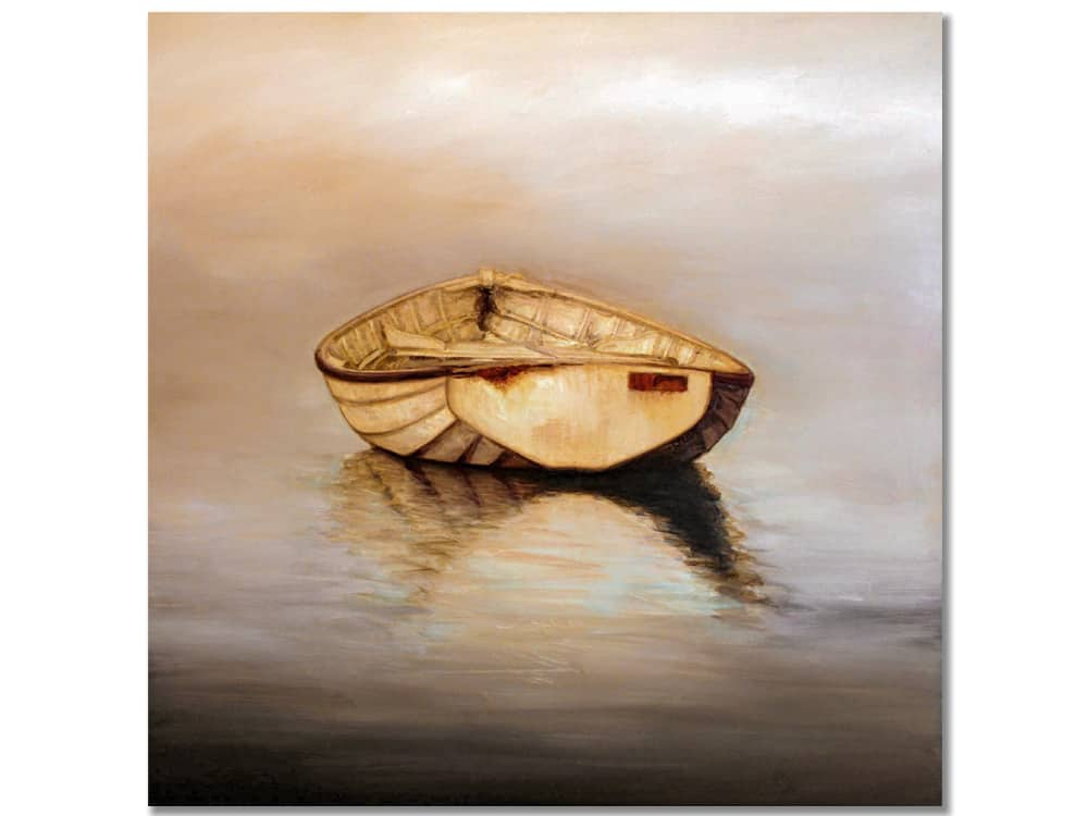 original painting of boat on canvas