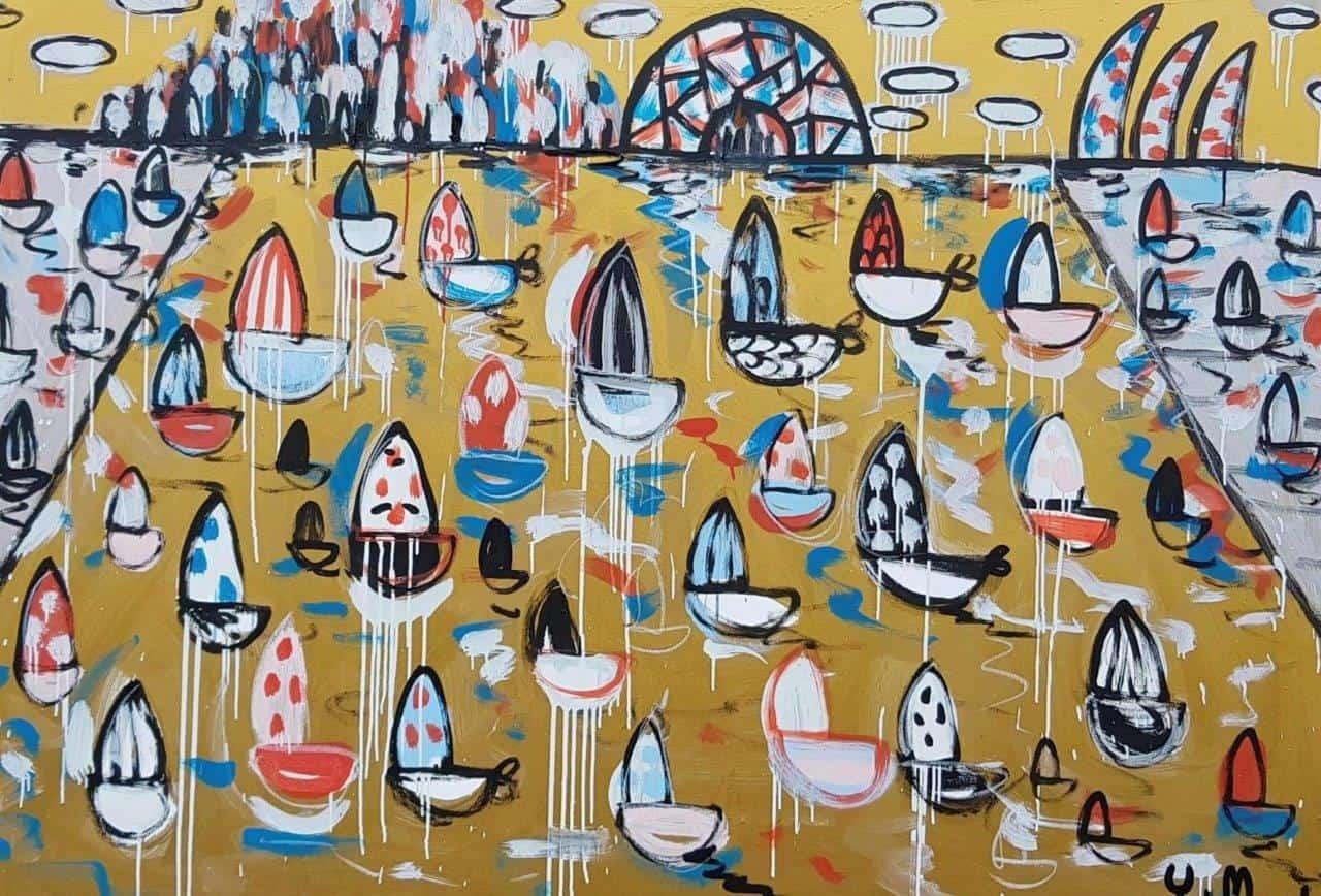australian painting harbour gold