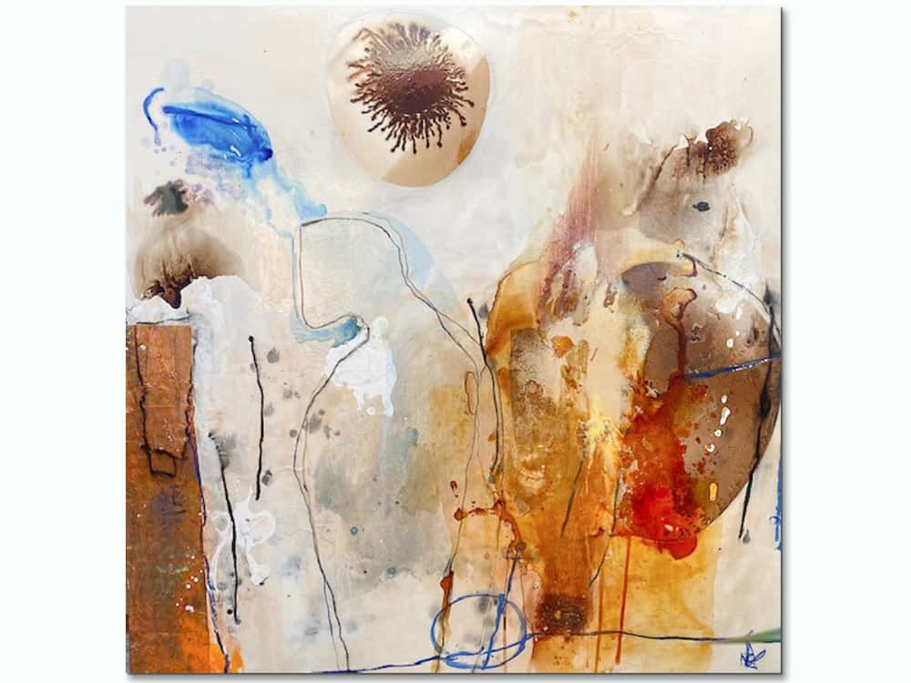 large abstract canvas art in warm tones