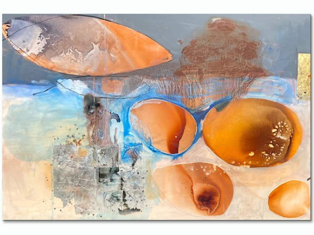 large abstract canvas art in soft earth tones