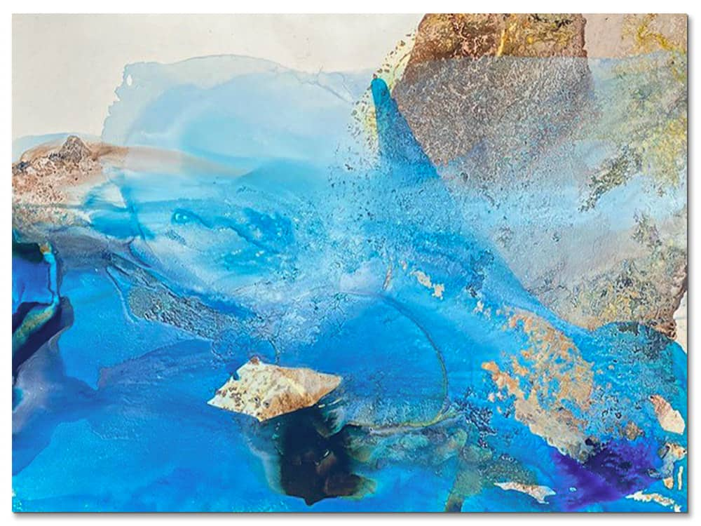 large abstract canvas art in blue