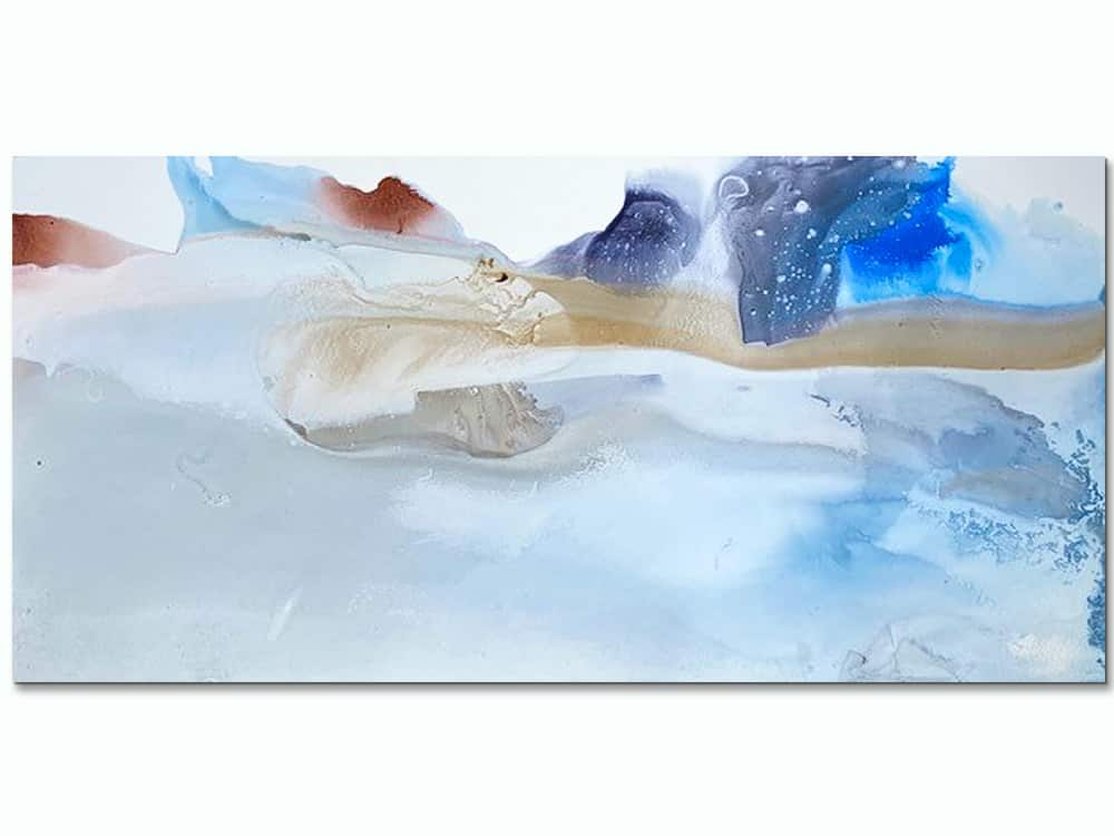large abstract canvas art in soft blue
