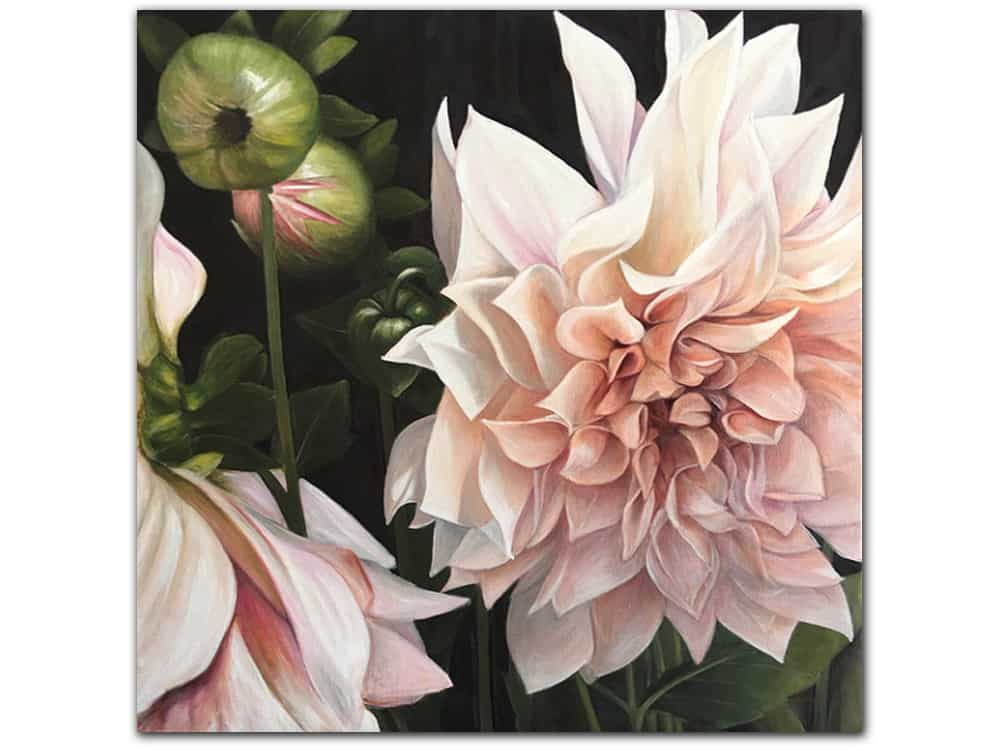 Pink-Dahlia-with-buds_Masako_Oil-on-Linen_122x122cm