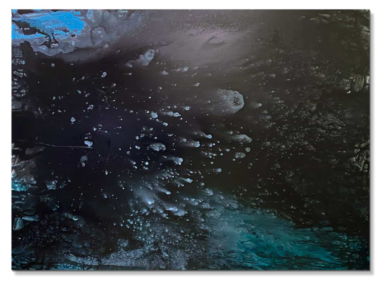 dark abstract with blue highlights, original canvas art.