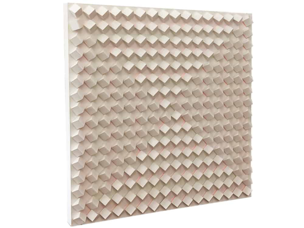 wood block artwork in white