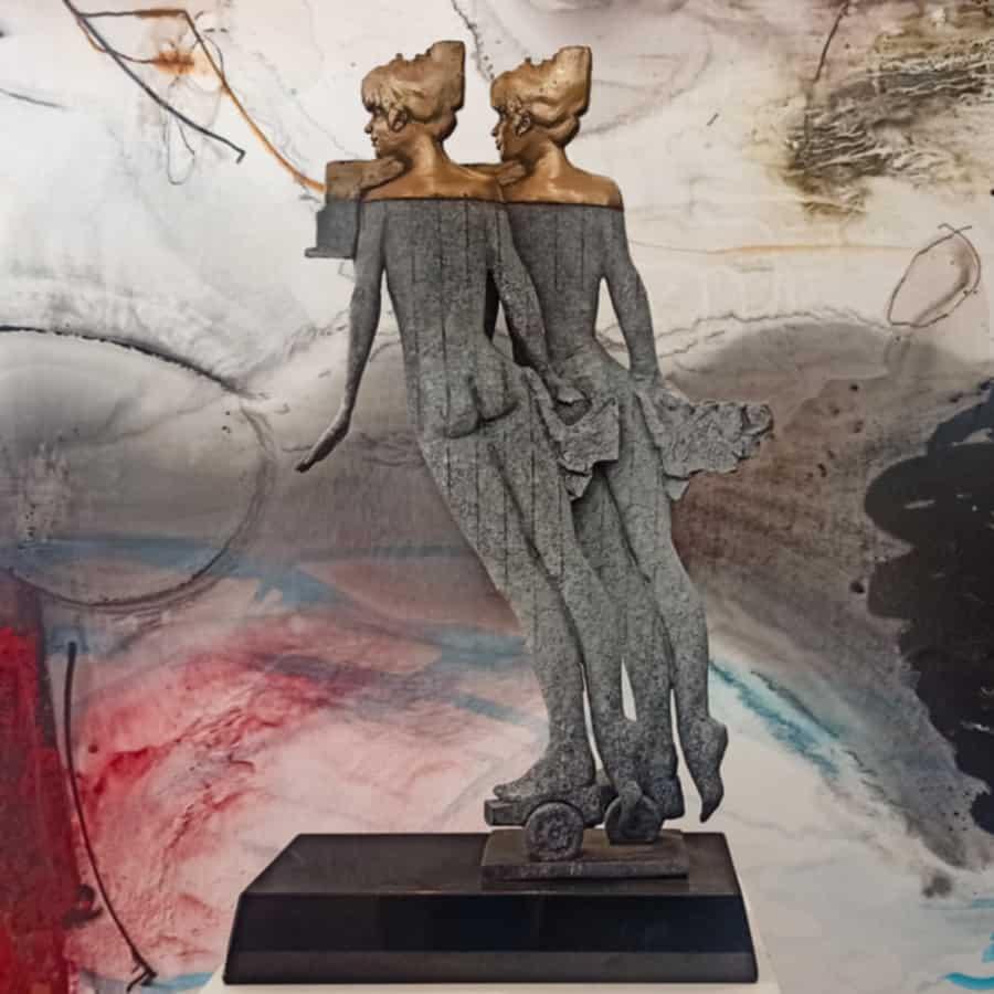 double exposure glassborrow-bronze-figurative-female-sculpture
