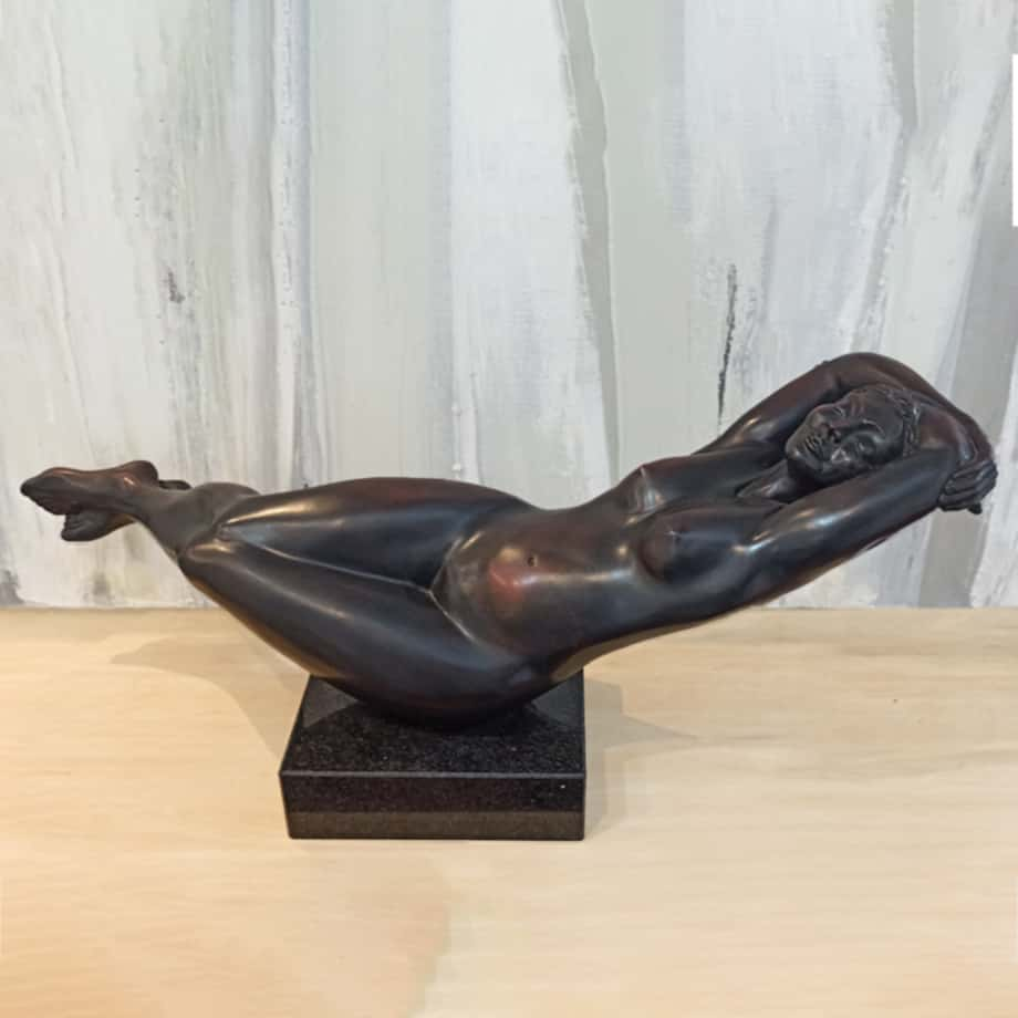 Hammock BRONZE-MARBLE-BASE-[Bronze,Table-top,Figurative]-Libucha-Zygmunt-australian-sculpture-female-form