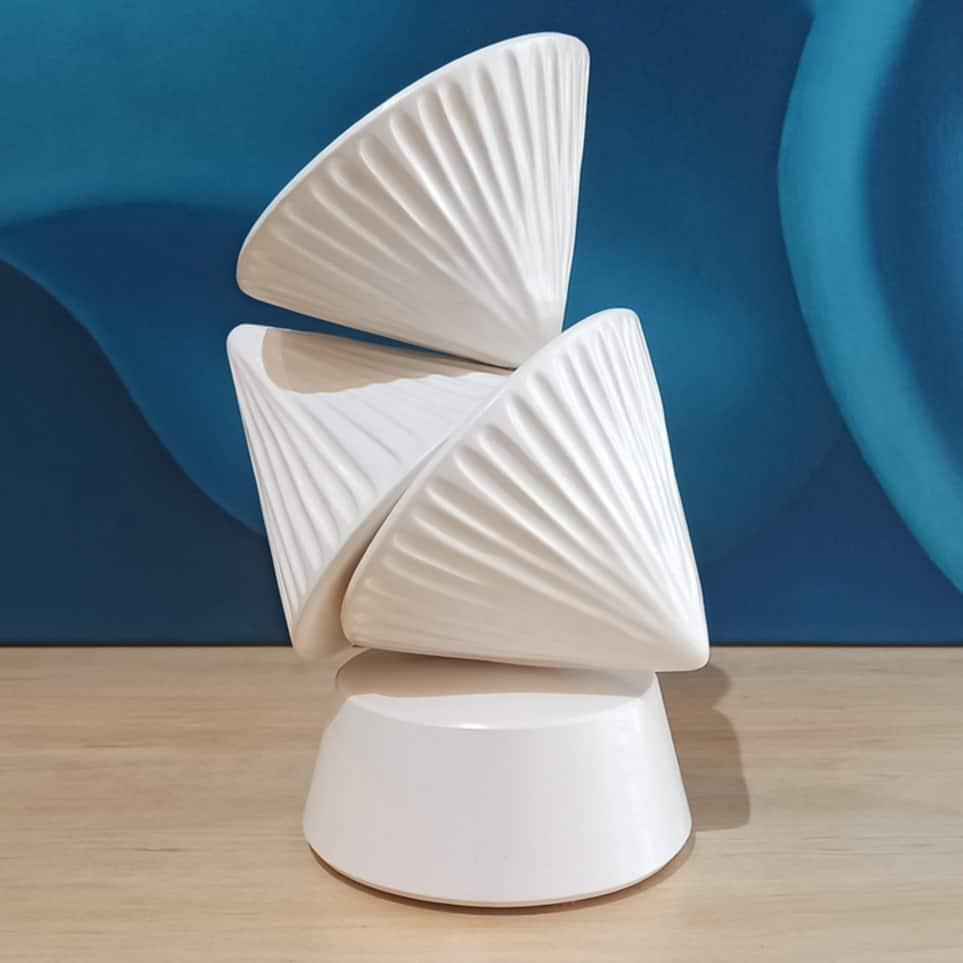 walter auer ceramic totem sculpture in white