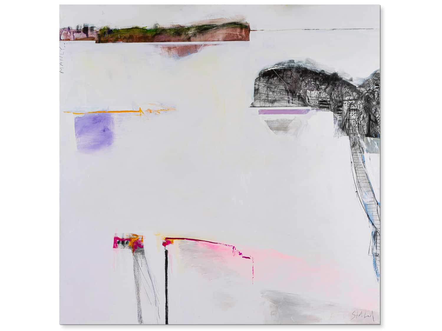 Abstract landscape painting-jetty-jumping-Phil stallard